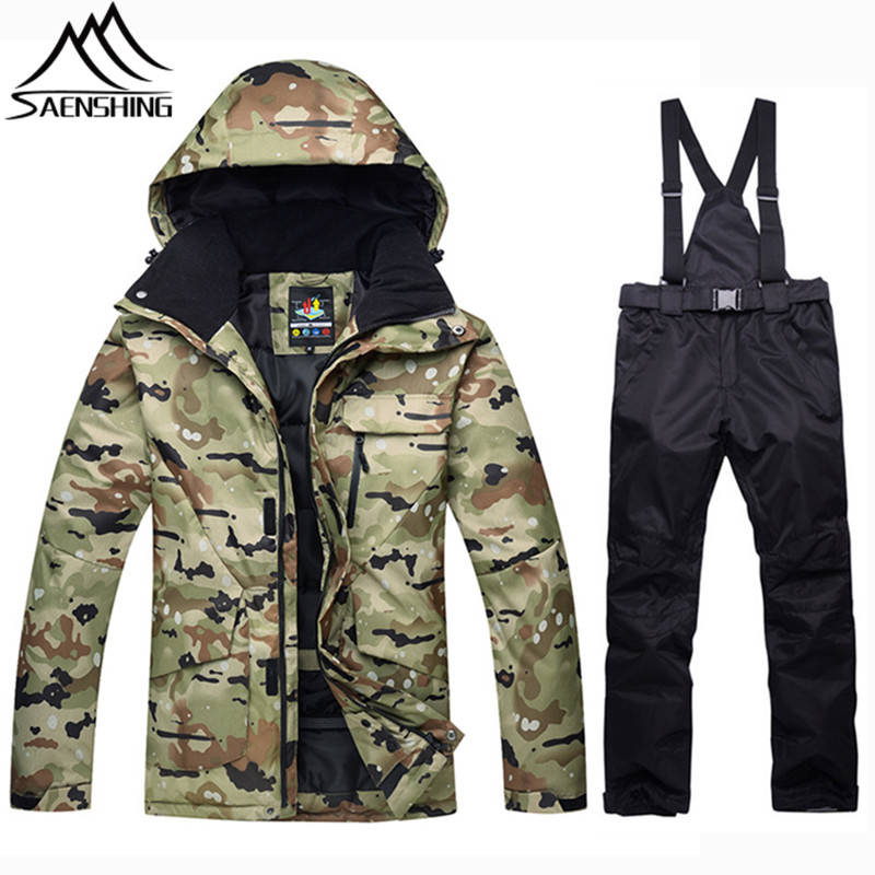 SAENSHING Camouflage Winter Ski Suit Men Snowboarding Suits Waterproof Super Warm Jacket Snowboard Pants Outdoor Snow