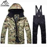 SAENSHING Camouflage Winter Ski Suit Men Snowboarding Suits Waterproof Super Warm Ski Jacket Snowboard Pants Outdoor