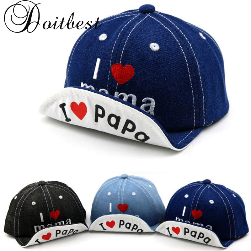 2018 Spring Child Love letter cowboy Baseball Cap I love papa Summer kids Sun Hat Boys Girls snapback Caps age for 1-4 years old cntang brand summer lace hat cotton baseball cap for women breathable mesh girls snapback hip hop fashion female caps adjustable