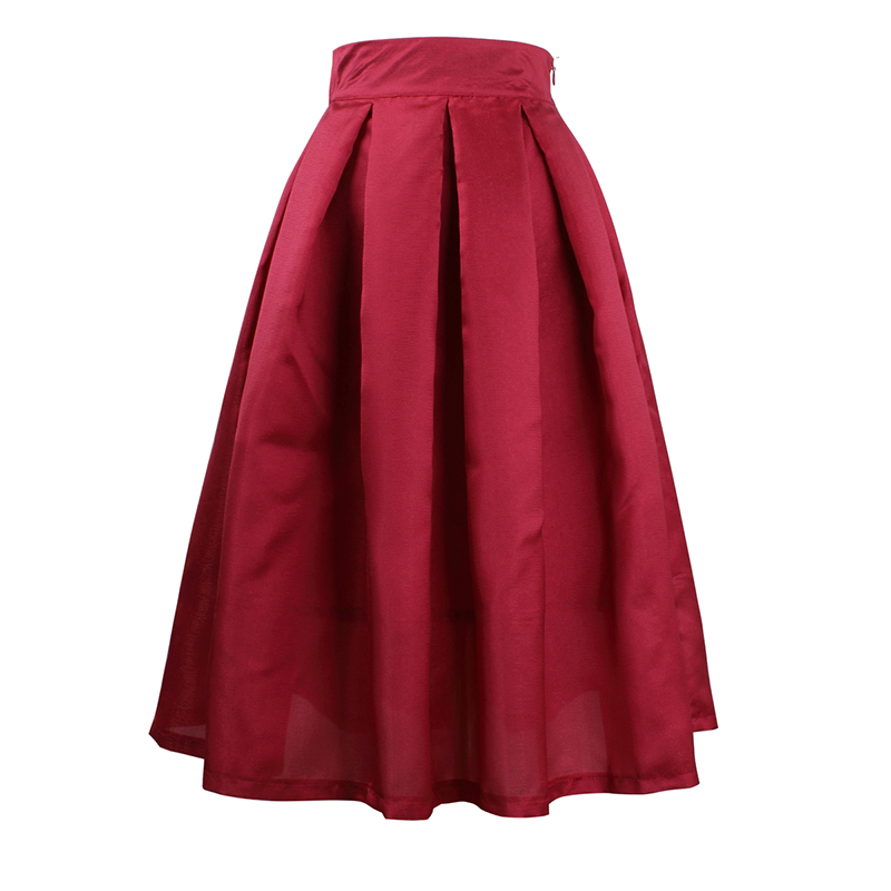 Womens Skirts Female Vintage Pleated High Waist Pleated Midi Solid Skirt Ladies Elegant Spring A-Line Saias na altura do joelho