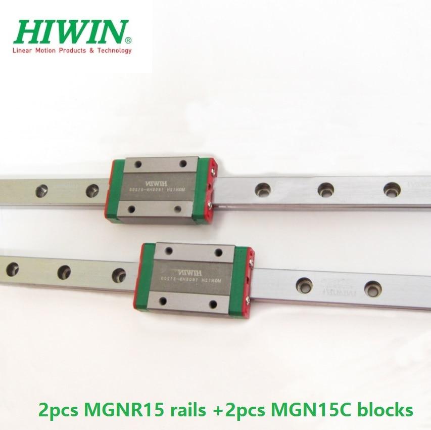 2 pièces D'origine HIWIN rail de guidage linéaire MGNR15-L 200mm 300mm 400mm 500mm 600mm + 2 pièces MGN15C blocs pour mini CNC partie kit MGN15