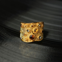 Viennois Wide Gold Color Finger Rings for Woman Multicoloured Rhinestones Paved Cocktail Ring Size 6 7 8 9 for Female