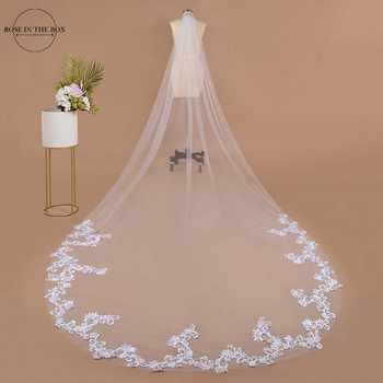 Voile Mariage 3m One Layer Wedding Veil With Comb White Lace Edge Bridal Veils Ivory Appliqued Cathedral Wedding Veil - DISCOUNT ITEM  36% OFF All Category