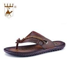 4d82b9e3d BACKCAMEL 2018 кожаные шлепанцы Мужские тапочки Нескользящие корейский  стиль удобные пляжные сандалии удобные тапочки плюс Размеры