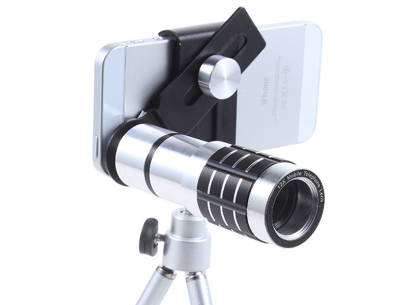 Universal 12X Zoom Phone Camera Lens Telephoto Telescope With Mount Clip Holder Mini Tripod Stand Lens For iPhone Smartphone 14