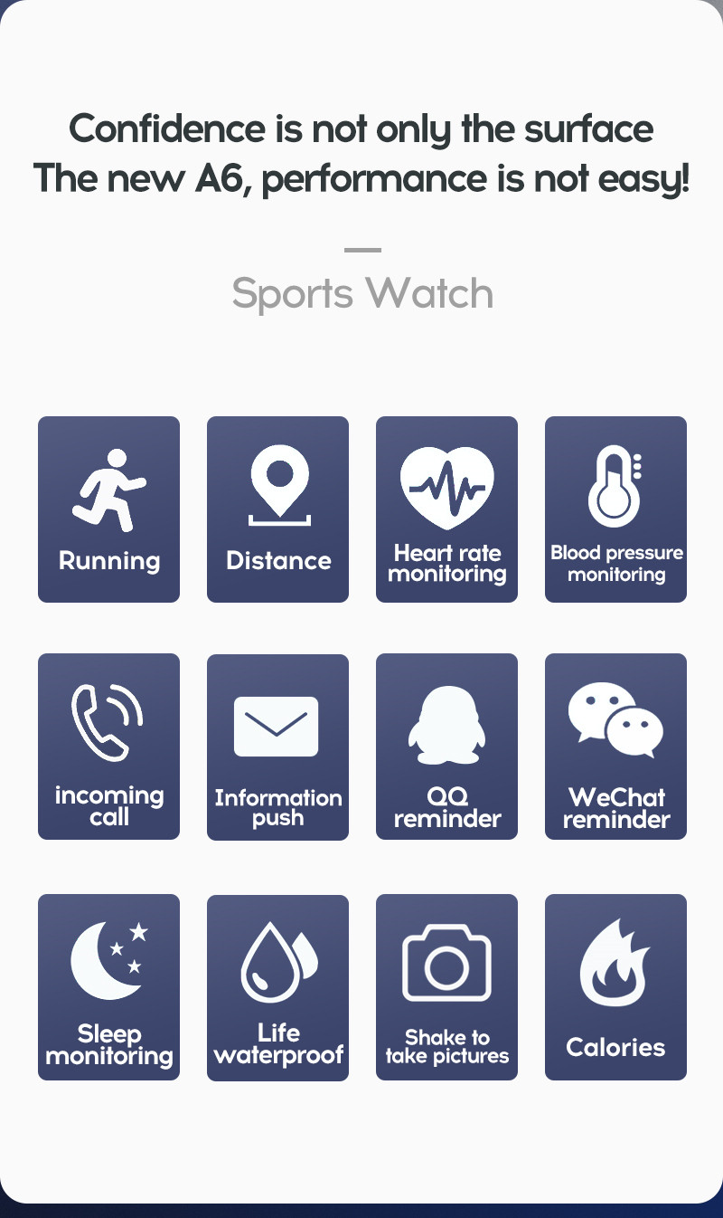 LYKRY A6S Smart Bracelet Fitness Tracker Heart Rate Blood Pressure Monitor Smart Band IP67 Waterproof Sports For Android IOS+Box (3)