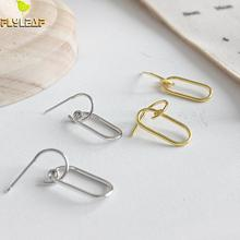 цены Flyleaf 925 Sterling Silver Earrings For Women Gold Jewelry Oval Femme Simple Dangle Drop Gold Earings Fashion Jewelry Ins Style