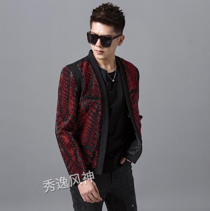 New Hot Drilling Men's Fashion Trend Bright Diamond Suit Nightclub Singer Slim Suit Jacket Jacket Fashion Heavy Work Costume XXL