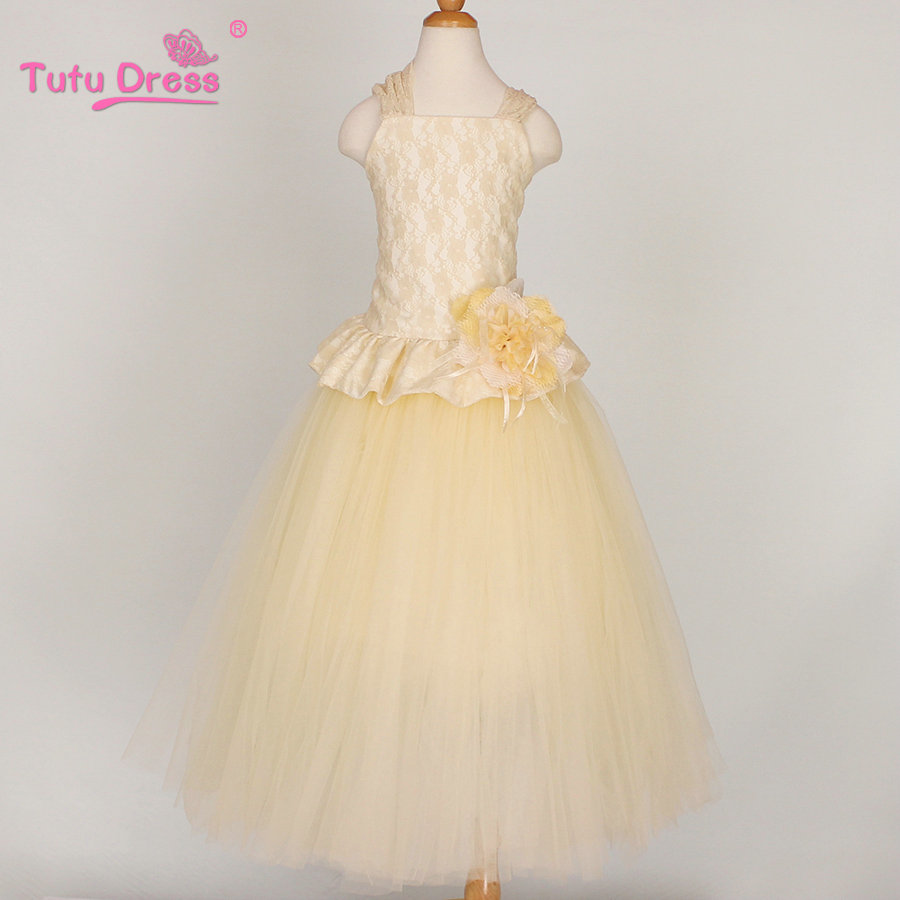 Buy ivory lace flower girl dress birthday for Lace flower wedding dress