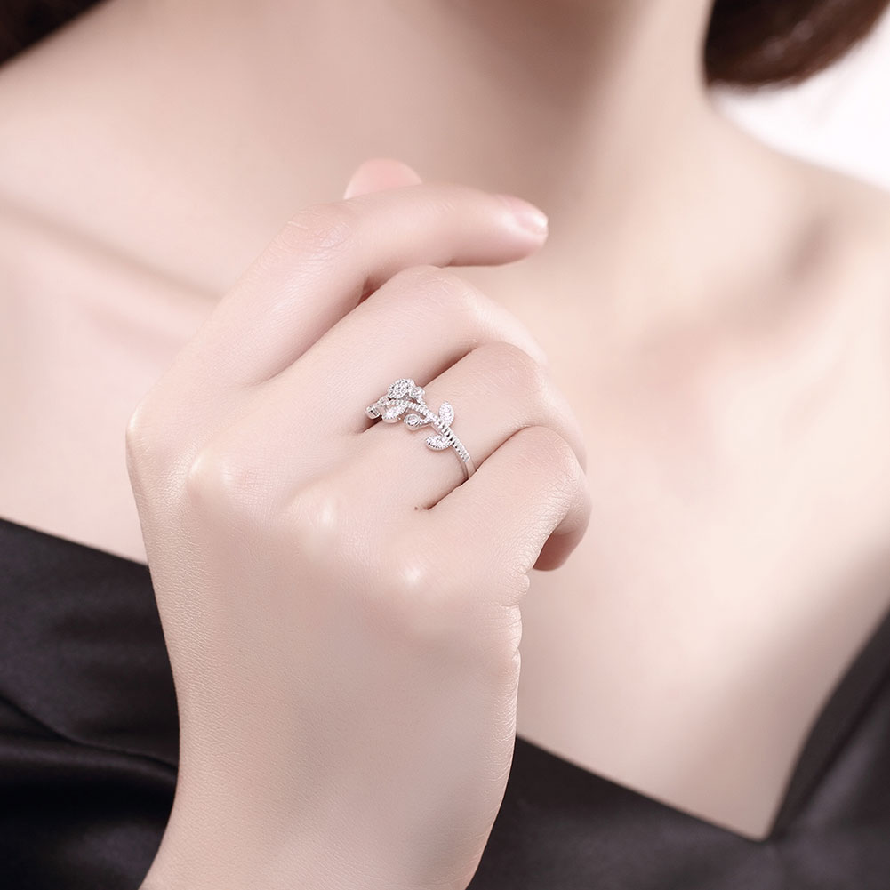 XU 925 Sterling Silver Flower Opening Zircon Inlaid Rings Women\'s ...