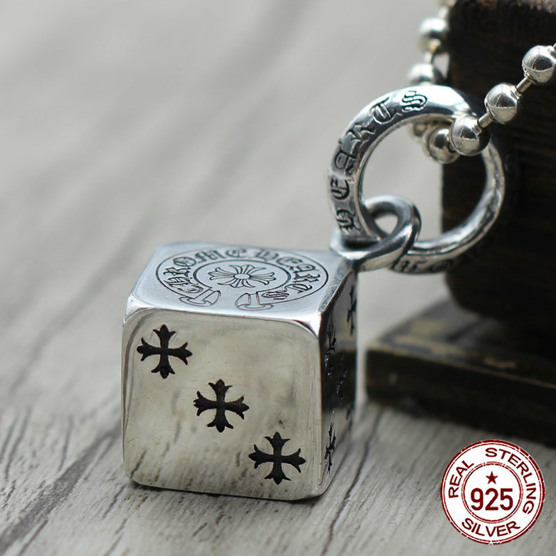 S925 sterling silver pendant Personalized fashion Punk retro style Square multi element classic jewelry Send lover