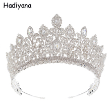 Hadiyana Fashion Plant Queen Crown For Women Girl Diadem Wedding Hair Accessories Cubic Zirconia Crown Jewelry Gift HG6093