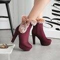 Nueva sexy zapatos de tacón alto de las mujeres botas de otoño e invierno las botas con zapatos de mujer de tacón fino tacón alto botines de plataforma de piel de invierno femenina