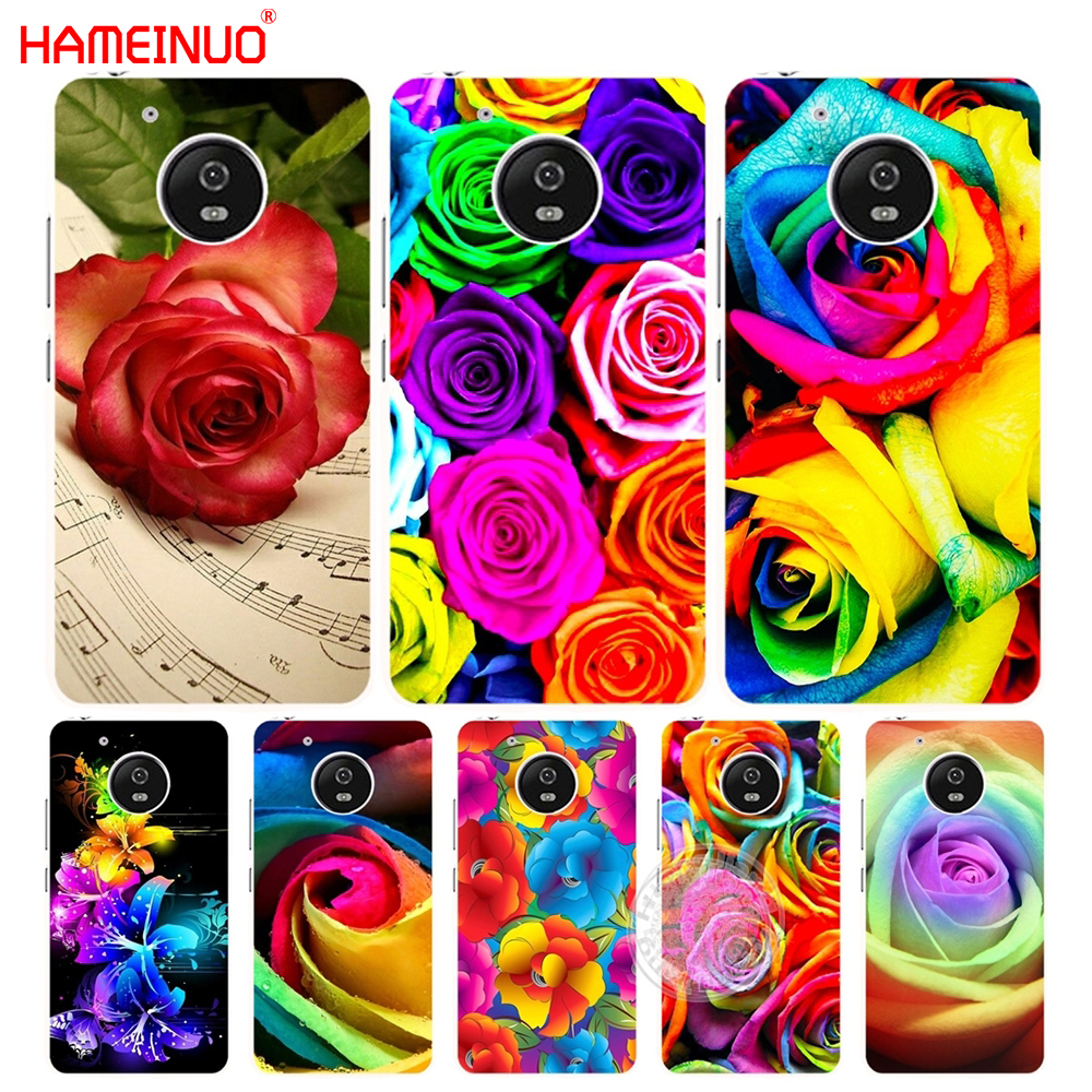 HAMEINUO flower rose color rainbow case cover for For Motorola moto G6 G5 G4 PLAY PLUS ZUK Z2 pro