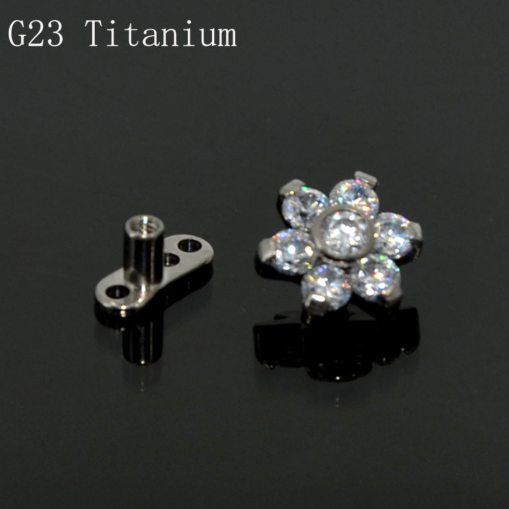 G23 Titanium Flower Top with Water Opals Zircon Dermal Anchor Piercing Body Jewelry