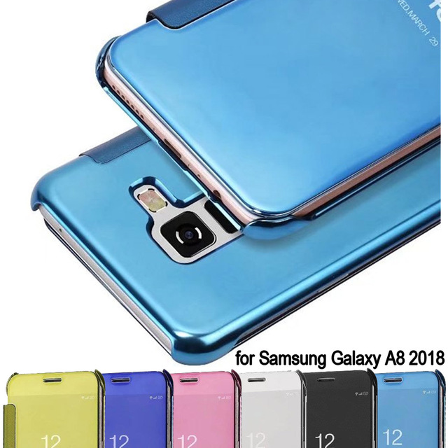 official photos 8308a a2ee6 US $7.1 10% OFF|For Samsung Galaxy A8 2018 case Luxury Original plating  mirror full view window flip cover for Samsung Galaxy A8 plus 2018 case-in  ...