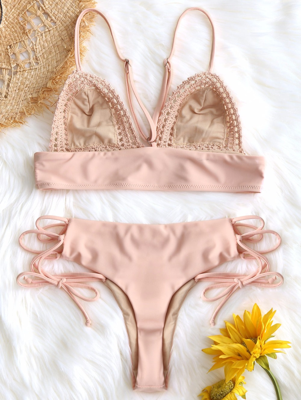 Crochet Panel Bralette Bra Bikini Set