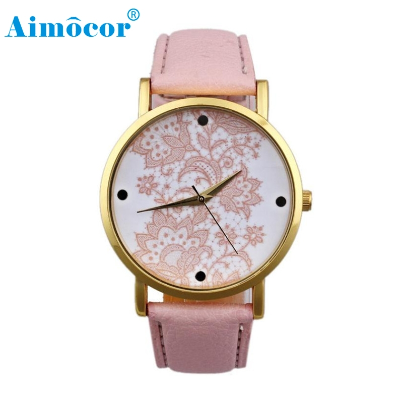 2017 New Designed RelogioClassical Feminino Clock Women Round Lace Printed Faux Leather Quartz Analog Dress Wrist Watch Gift 322 french connection new black women s 0 lace illusion faux wrap sheath dress $168