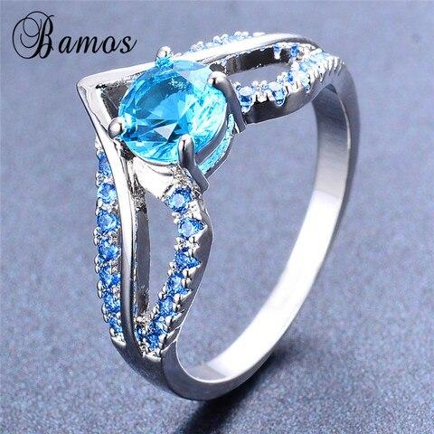 Bamos New V Shape Design Round Multicolor AAA Zircon Birthstone Ring White Gold Filled Best Wedding Rings For Women Lover Gifts Karachi
