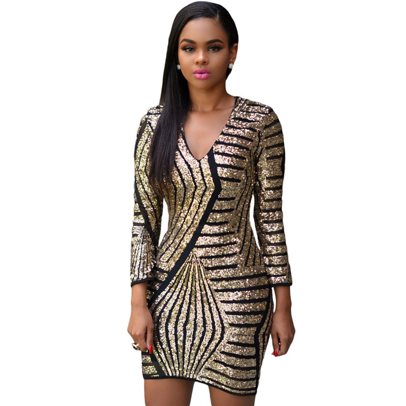 European and American fashion Mini Dress Sexy Sequin embroidery V neck long sleeve stripe slim package
