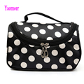 High Quality Women Makeup Famous Brand Cosmetics Striped Dot Flowers Soft Zipper Make Up Handbags Nylon Large Capacity Clutches