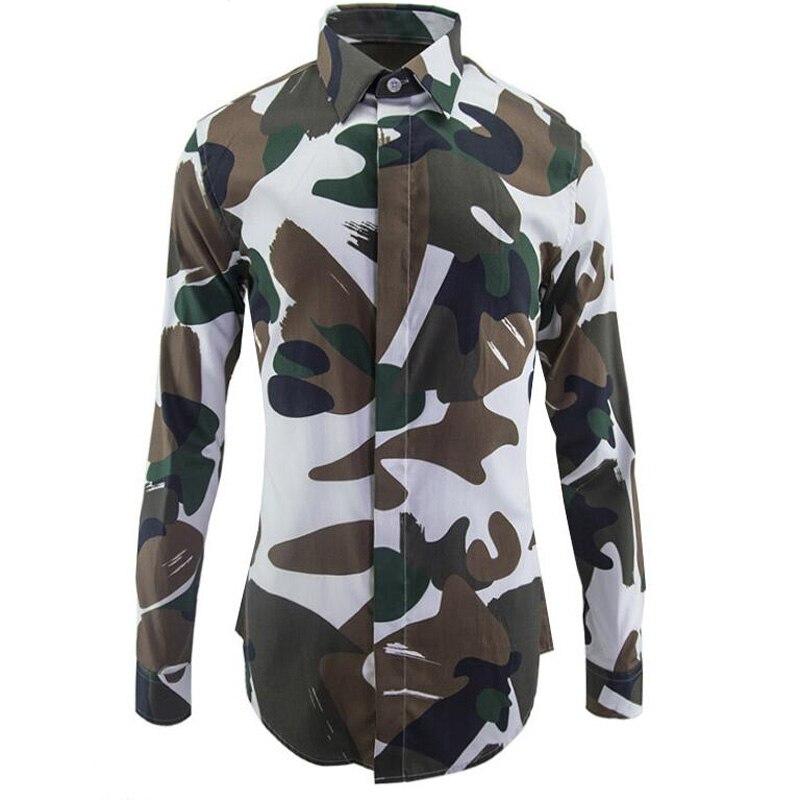Nouvelle armée Camouflage 100% coton chemises hommes Slim corps motif chemise personnalité chemises de base décontracté respirant vêtements M-3XL