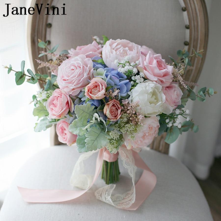 JaneVini Nouveau Style Artificielle Mariée Bouquet 2018 Rose Rose Dentelle Ruban Broche Pivoine De Mariée De Mariage Fleurs Bouquet de Mariée Fleurs