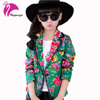 Big Girls Floral Printing Blazer Jacket Fashion Button Slim Suit Coat Spring Autumn Children S Long