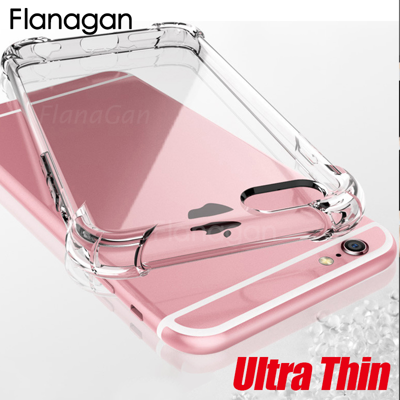 FlanaGan Anti-knock Transparent Soft Silicone Phone Case For iPhone X XS Max XR Shockproof Cover For iPhone 6S 7 8 6 Plus 5 Case