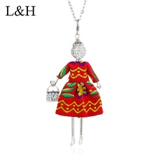 Red Blue Embroidered Dress Girl Pendant Necklace Silver Long Chain Choker Doll Necklace For Women Girls Statement Party Jewelry long blue ribbon choker necklace