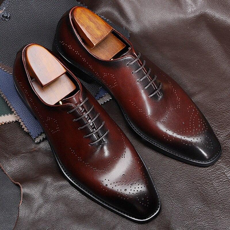 Mężczyzn skórzane buty biznes sukienka garnitur buty mężczyźni marka cielca prawdziwej skóry czarne zasznurować męskie buty ślubne Phenkang w Buty wizytowe od Buty na  Grupa 2