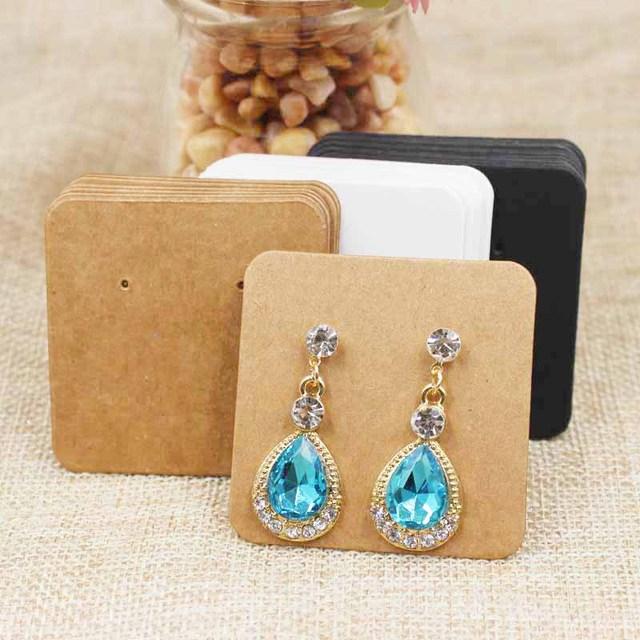 200pcs Multi Color Paper Stud Earring Tag Card Cardboard Small Cute Drop Display Hang