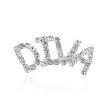 Silver Tone Clear Rhinestone Hand-made Brooch Jewelry DIVA Word Pin FREE SHIPPING