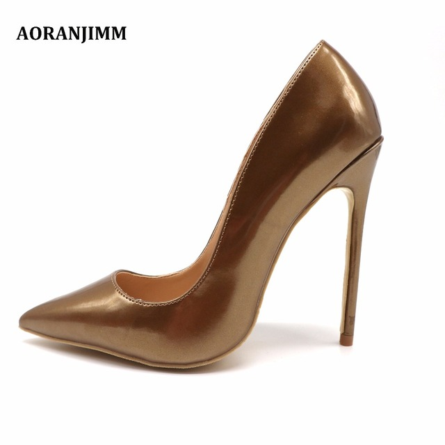 e13ade4537e9da Free shipping AORANJIMM real pic bronze dark gold pointed toe office lady  woman female 80mm heel discount brand shoes on sale