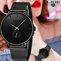 LIGE zegarki damskie Top marka Luxury Casual Fashion zegarek damski zegarek kwarcowy wodoodporny pasek z siatki damskiej zegarek damski