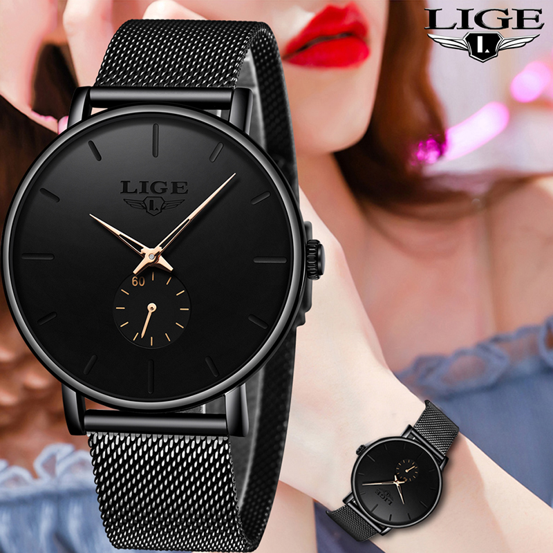 LIGE Womens Watches Top Brand Luxury Casual Fashion Watch Women Quartz Waterproof Clock Mesh Belt Ladies Wristwatch Ladies Watch