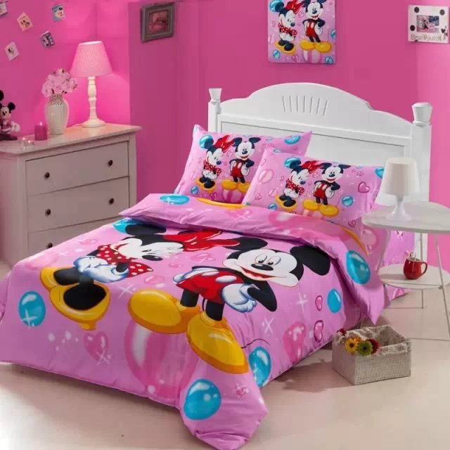US $69.99 |mickey minnie mouse bedding set single twin size comforter duvet  cover bedspread cotton Children\'s bedroom decor 3 5pc deep pink-in Bedding  ...