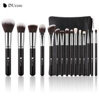 DUcare 15 шт. набор кистей для макияжа козья шерсть синтетические волосы макияж кисти профессиональный набор косметики с сумкой