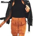 Missufe 6 Colors Autumn Lace Up Sude Leather Women Skirt 90's Vintage Pocket Preppy Saia Slim Short Skirt Women Pencil Skirt
