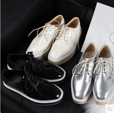 Womens Casual Fashion Square Toe Lace Up Punk Brogue Oxford Creepers Zapatos de