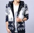 Новый с капюшоном вязать свитер джемпер свитер плюс толстый бархатная куртка корейской тонкий мужчины мода свободного покроя пиджаки пальто мужчины
