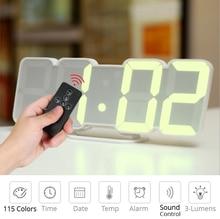 Digital Time Alarm Clock LED Wall Clock With 115 Colors Remote Control Digital Watch Night Light Magic Desktop Table Clock
