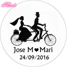 35mm Gepersonaliseerde Bruiloft Gunst Tags Favor Sticker Bonbondoos Papier Sticker Bruiloft Stickers Etiquetas Boda Bomboniere Matrimonio(China)