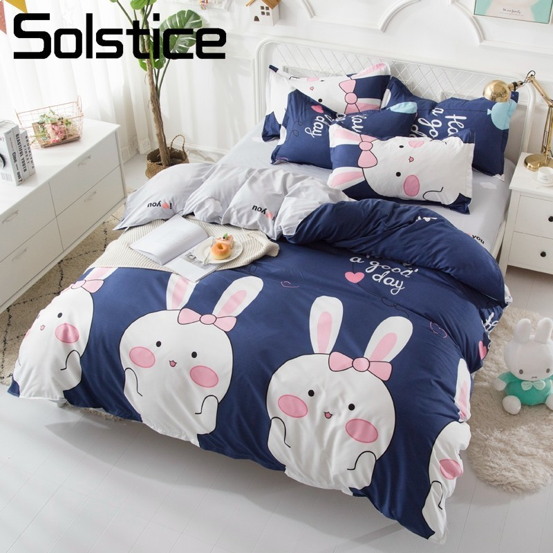 Solstice Home Textile Kid Teen Girls Bedding Set Bunny Lovely Duvet Cover Pillowcase Flat Bed Sheets Queen Twin Linen Bedclothes