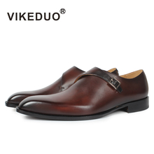 VIKEDUO 2019 Hot Genuine Leather Shoes For Men Wedding Office Dress Brown Patina Handmade Monk Strap Casual Footwear