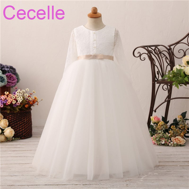 2018 Ball Gown Flower Girls Dress For Wedding Long Sleeves Lace ...