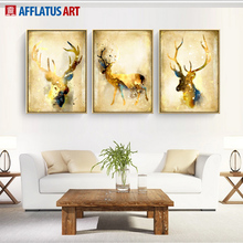 AFFLATUS Decoration Painting Nordic Golden Deer Canvas Painting Wall Canvas Art Pints Wall Pictures For Living