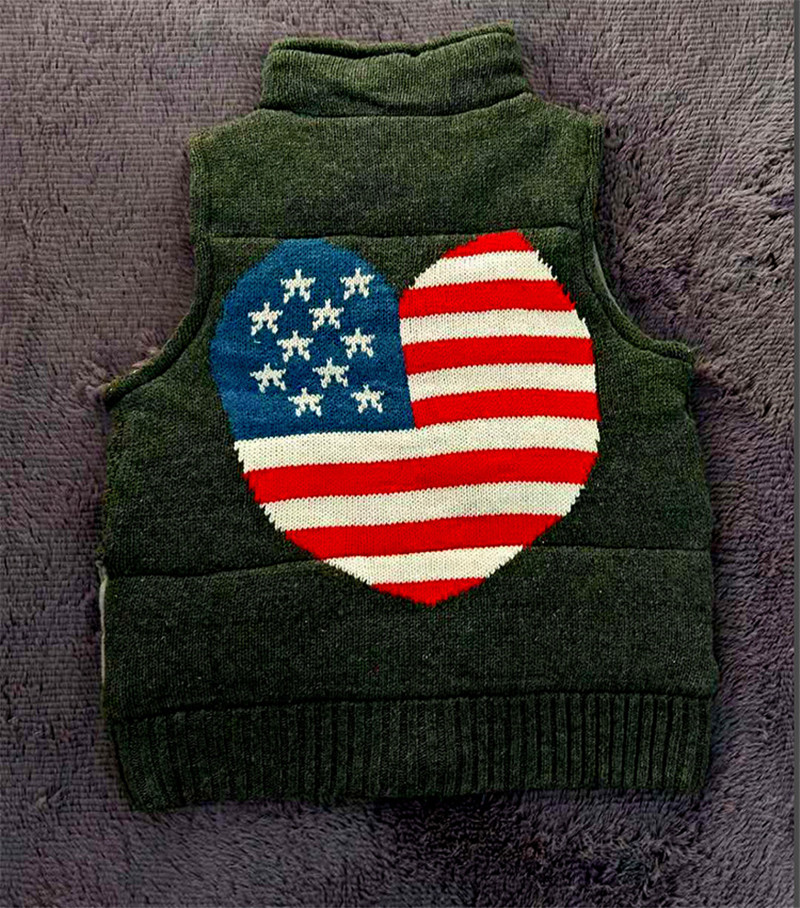 For Up American Fleeced Knitted Sweater Jumper Usa Fall 2 Vest Kawaii Flag Button Pattern Version version Women Crop Winter Cute 1 Knit Ladies qO0E0xzT