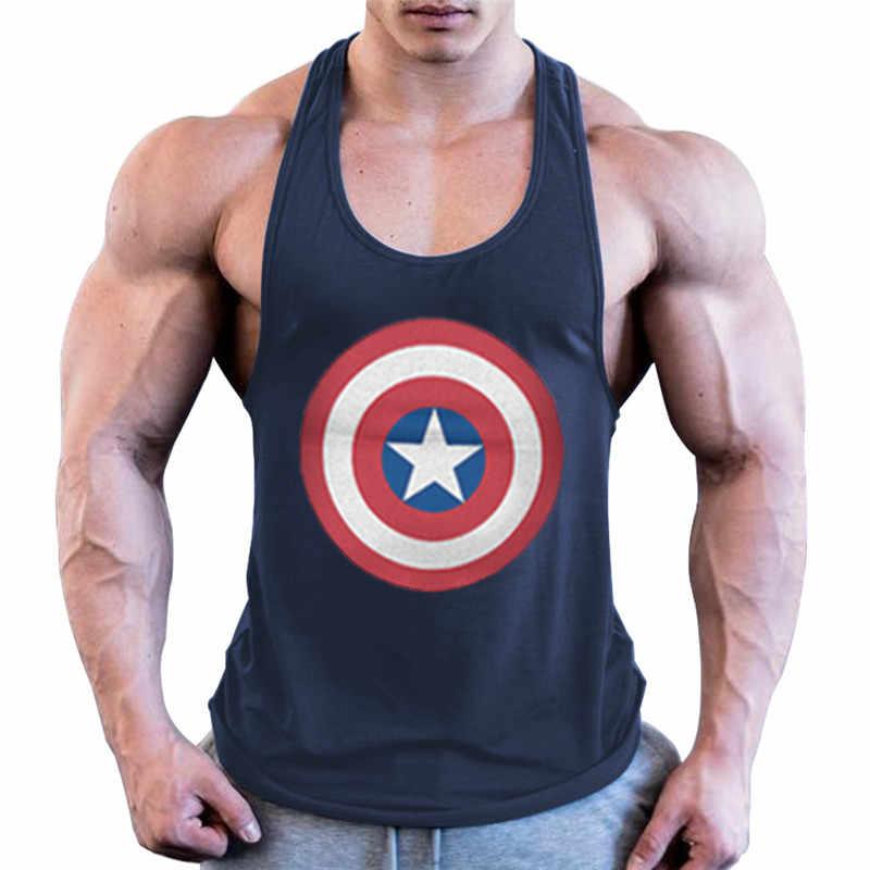 Batman Binaraga Stringer Tank Top Pria Kebugaran Singlet Katun Tanpa Lengan Kemeja Workout Pakaian Olahraga Singlet Gym Pakaian