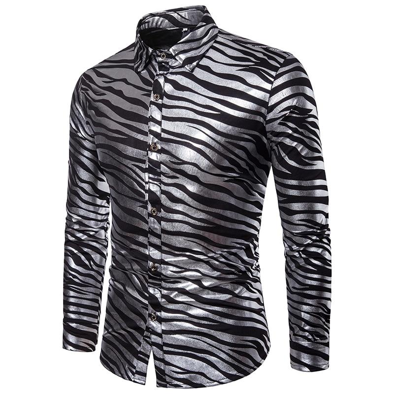 fashion casual shirts men 2019 autumn winter zebra stripes print dress for long sleeve